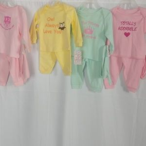 LOT OF FOUR SWIGGLES 0/3 MONTH GIRLS 3 PIECE SETS